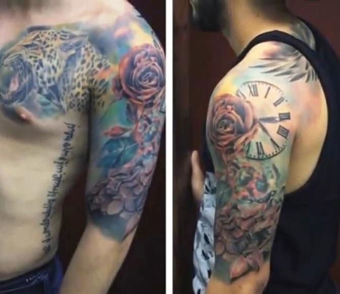 27 Jaguar Tattoo and Rose